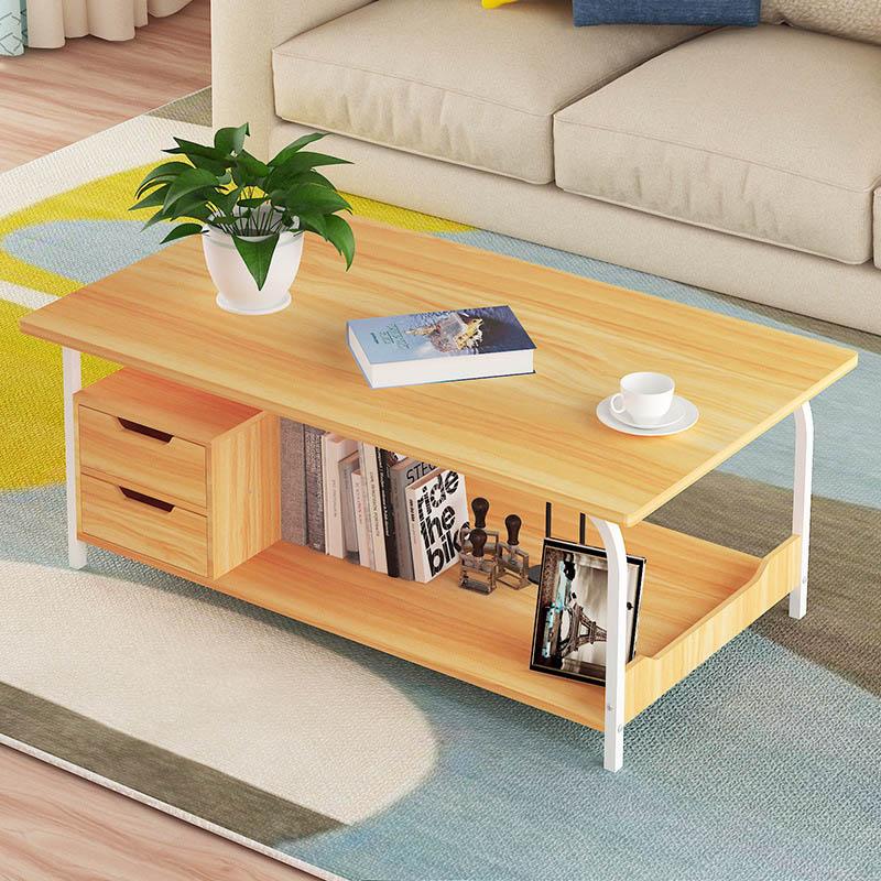 Simple petit appartement Table à thé créative rectangulaire salon Table basse avec tiroir de rangement meubles de maison