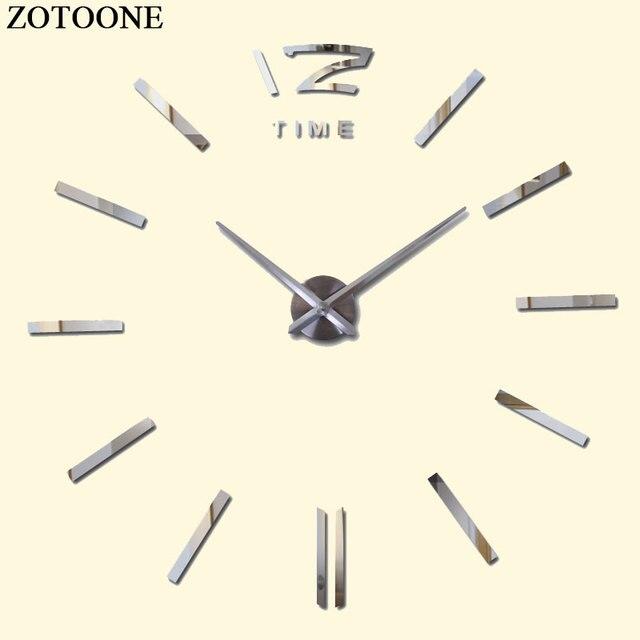 ZOTOONE DIY Mirror Large Metal Wall Clock Modern Design Fashion Vintage Big Decorative Self Adhesive Wall Clocks Home Decor D