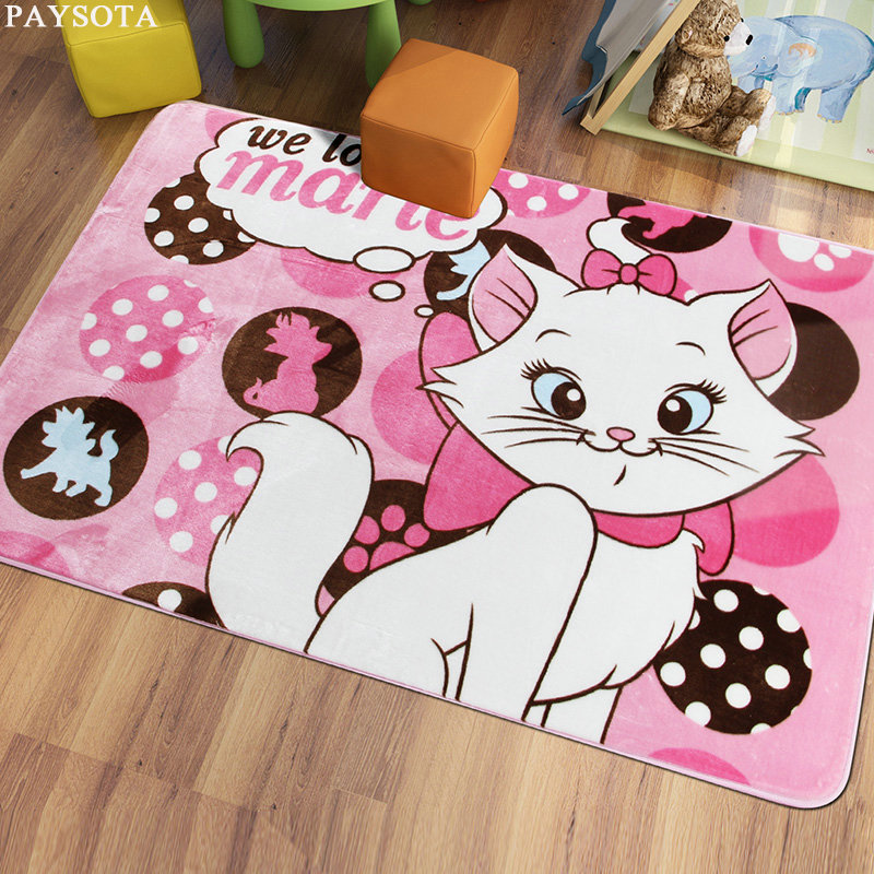 PAYSOTA Cartoon Cat Bear Carpet Bedroom Living Room Bed Mat Children room Lovely Home Crawling Machine Washable
