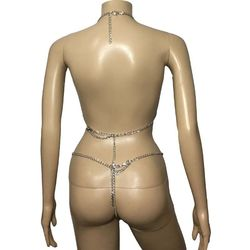 Сексуальная женщина металлическая цепь тела жгут Открытая грудь Холтер Бюстгальтер Топ с стринги с открытой промежностью набор белья бики... 2