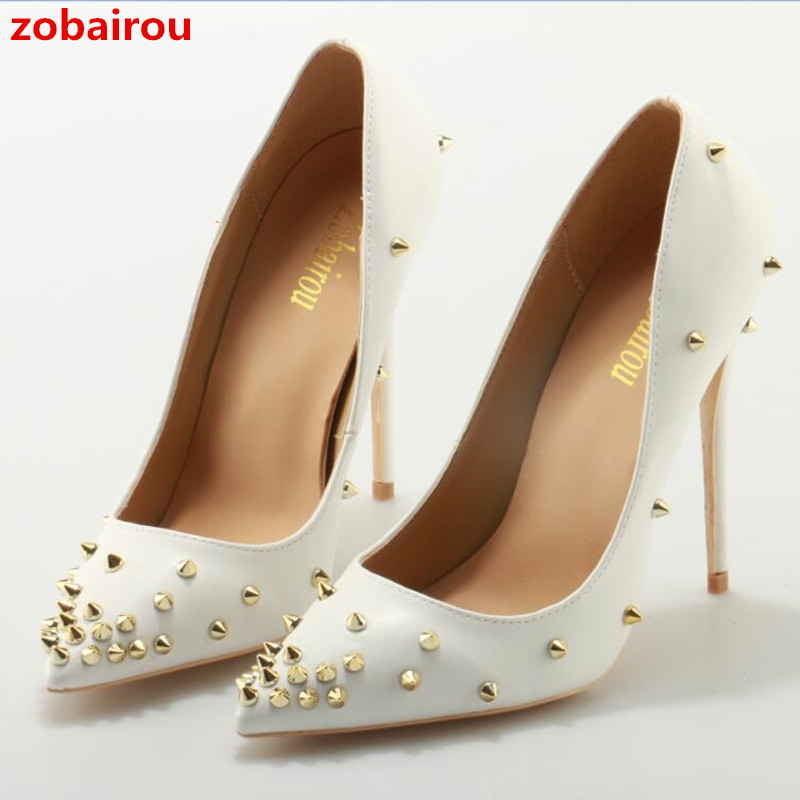 Zobairou Extreme Thin Heel Red Carpet Shoes Woman Sexy Pointed Toe High Heels Pumps Rivets White Superstar Shoes Zapatos Mujer cdts 35 45 46 summer zapatos mujer peep toe sandals 15cm thin high heels flowers crystal platform sexy woman shoes wedding pumps