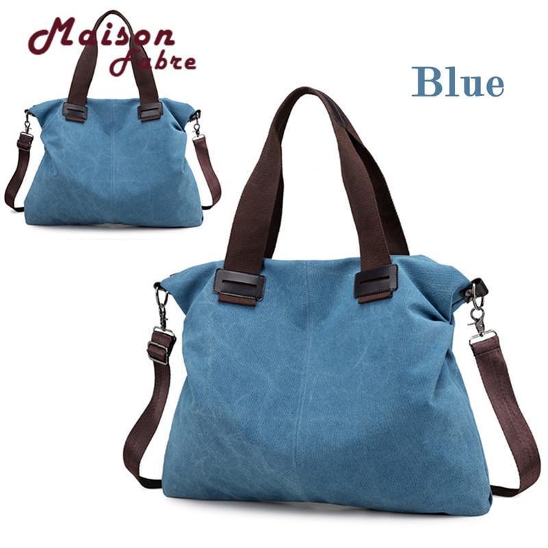 Blue Canvas Durable Totes Vintage Hobos Single Shoulder Bag P#