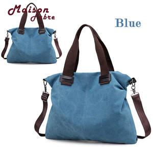 92688309a3 Maison Fabre Women Blue Canvas Casual Totes Vintage Female