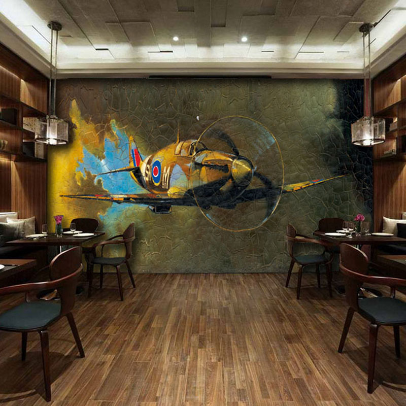 free shipping discount vintage industrial aircraft hand paninting mural wallpaper for coffee bar restaurant