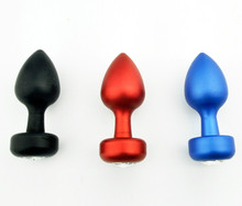 Blue/Red/Black Mini Anal Plug Butt/Booty Beads Unisex Anal Vaginal Man Women Big DICK Aluminum+Clear Jewelry Sex Toys Product
