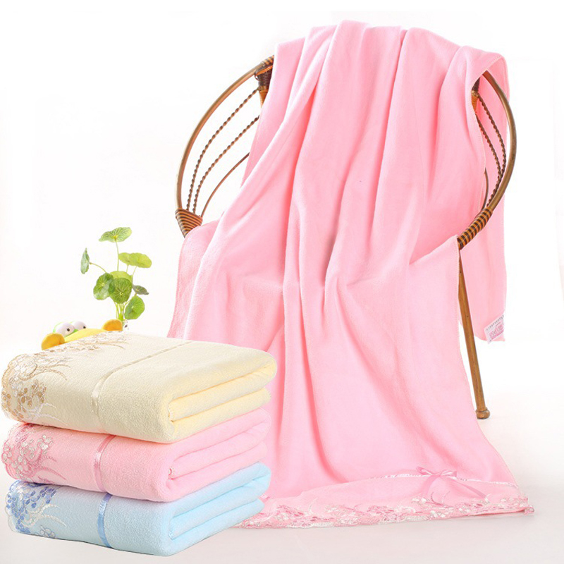 70*140cm Women Microfiber Lace Bath Towels Lady Girls Wearable Fast Drying  Cartoon Rabbit Magic