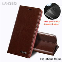 wangcangli For iphone 8 Plus phone case Oil wax skin wallet flip Stand Holder Card Slots leather case to send phone glass film