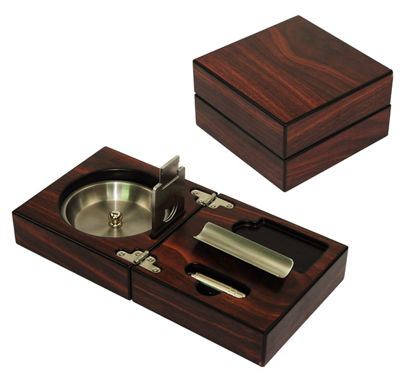 New 1 set Cuban cigar ashtray, solid wooden Box stainless steel ashtray + Cigar Punch+Cutter+Holder portable Foldable