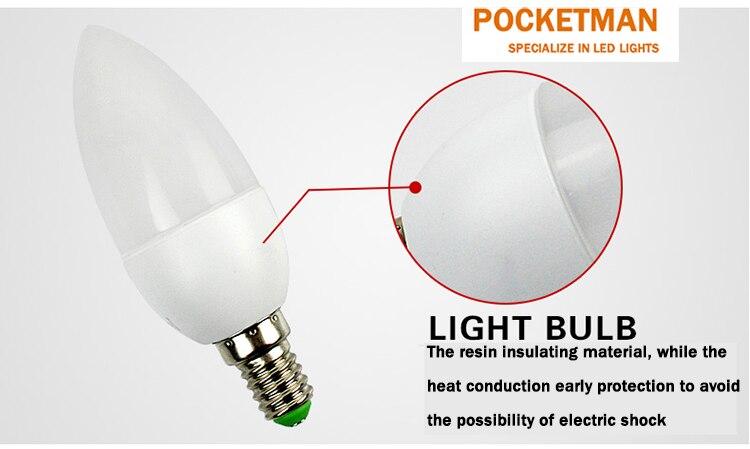 5 Вт SMD 2835 e14 лампы светодиодные трубки теплый белый холодный белый e 14 светодиодные свечи 220 В LED лампа бесплатная доставка - 3