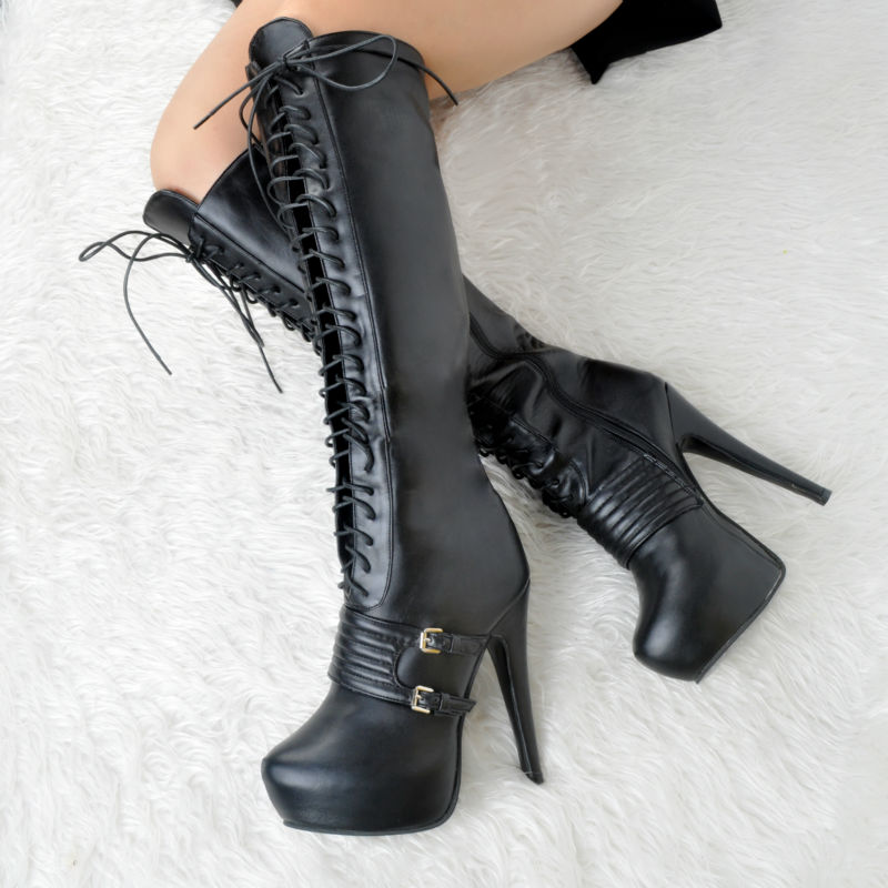 Thick Platform Round Toe High Heel Knee Boots For Women Lace-Up Women Shoes Winter Plus Size 12 Heels Womens Booties Female kemekiss winter women round toe ankle boots high heels lace up shoes double buckle platform short martin booties size 33 43