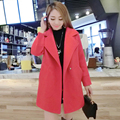 2017 Novas mulheres Meados de outono casaco fashion de Lã & Blends solto manga comprida do revestimento do revestimento Venda Quente Mujer Algodão Quente sobretudo