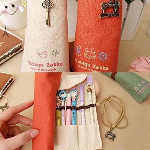 HEBA 4 colors School Supplies Retro Volume Pencil Bag Canvas Make Up Cosmetic Pen Pencil Case Pouch Purse Bag for kids