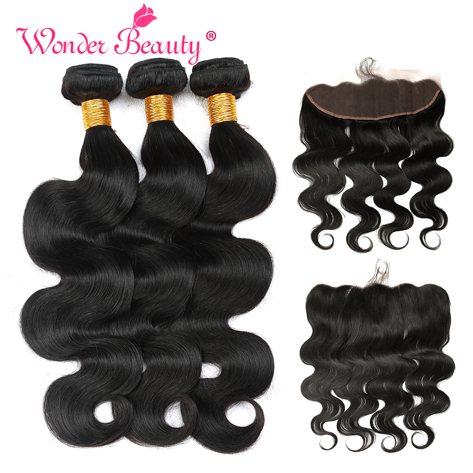 Wonder Beauty cabello humano 3 paquetes con Frontal 13x4 Ear to Ear - Cabello humano (negro)