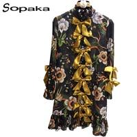 SOPAKA High Quality Runway Women Dress Casual Pleated Flower Printed Full Sleeve Bow Mini Summer Dress