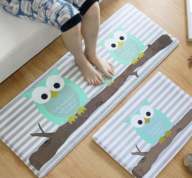small kitchen rugs flat panel cabinets us 5 39 40 off free shipping owl cartoon bedroom mats bathroom mat hall carpet in from home garden on aliexpress com