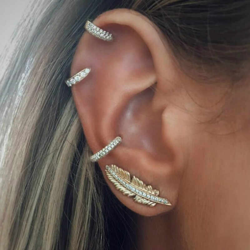 1 Set Sell Women Leaves Circle Bohemian Earring Hoop Earrings for Women Boucle Jewelry Dazzling Cubic Zirconia Opal Brincos