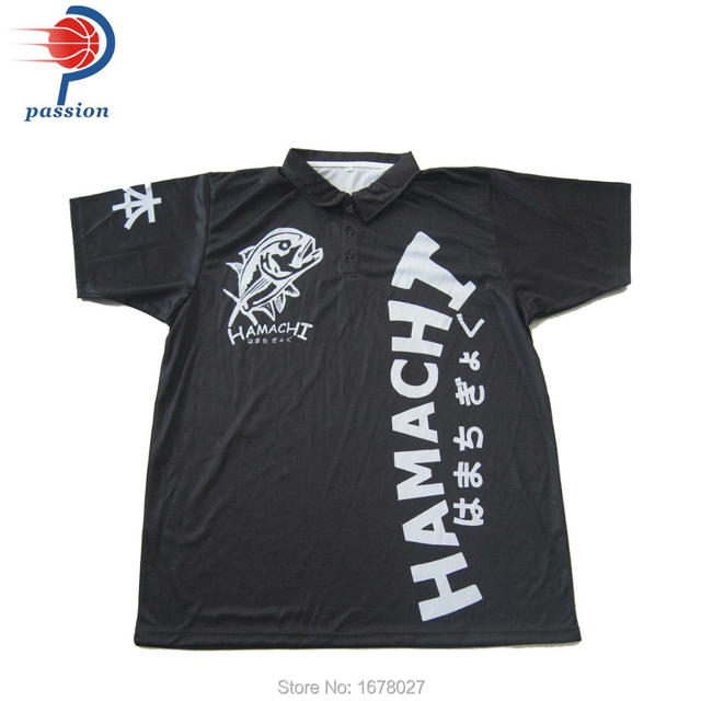 High Quality Sublimated Black Polo Shirts With Silver Chain Design