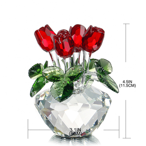 Image 5 - H&D Crystal Red Rose Flower Figurine Spring Bouquet Sculpture Glass Dreams Ornament Home Wedding Decor Collectible Gift Souvenir