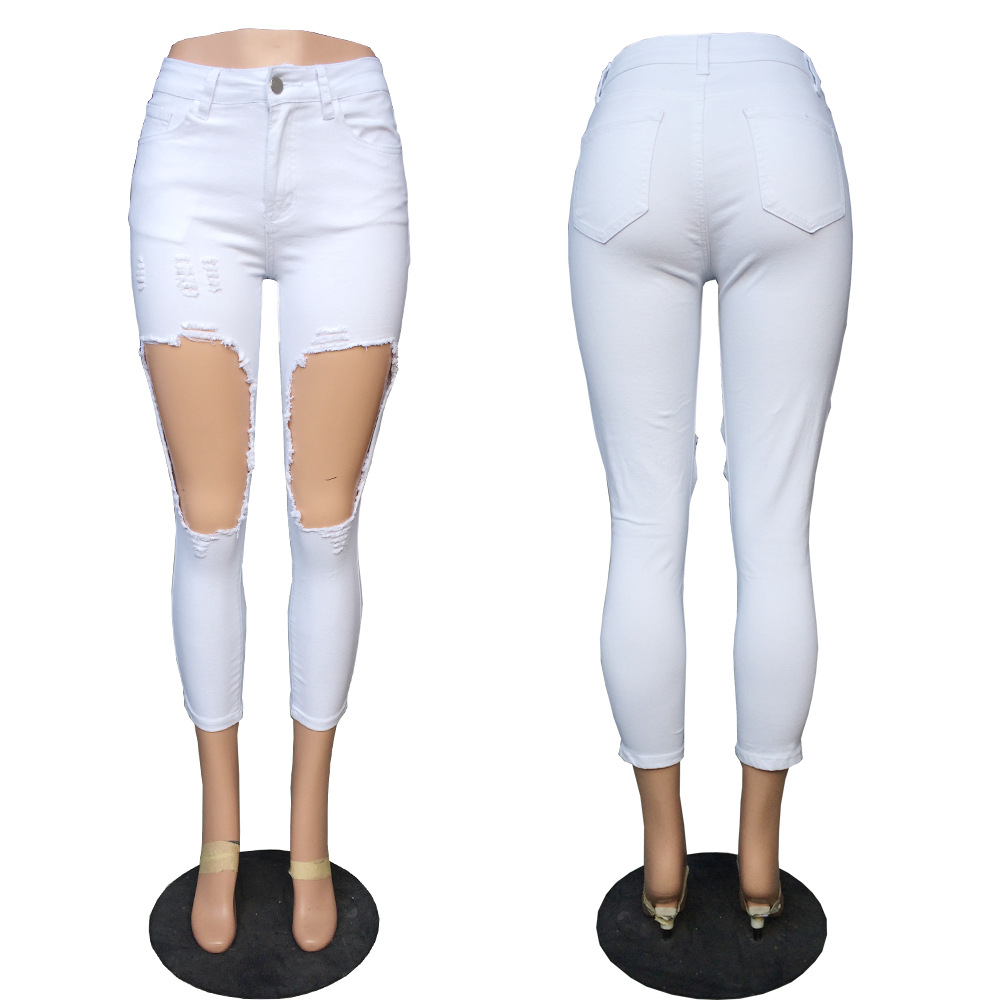 New summer hole female pencil pants fashion personality female jeans sexy high waist women 39 s pants casual ladies feet jeans in Jeans from Women 39 s Clothing