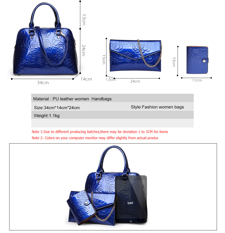 9820b119ba High Quality PU Leather Women Bags Floral Printing 3pcs Set Women ...