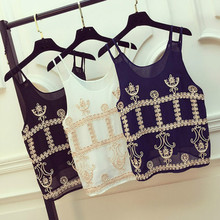 Women Ethnic Tank Top Vest Sleeveless Top Chiffon Embroidery Floral Crew Neck Double Strap Sheer Summer Spaghetti Beach Holiday