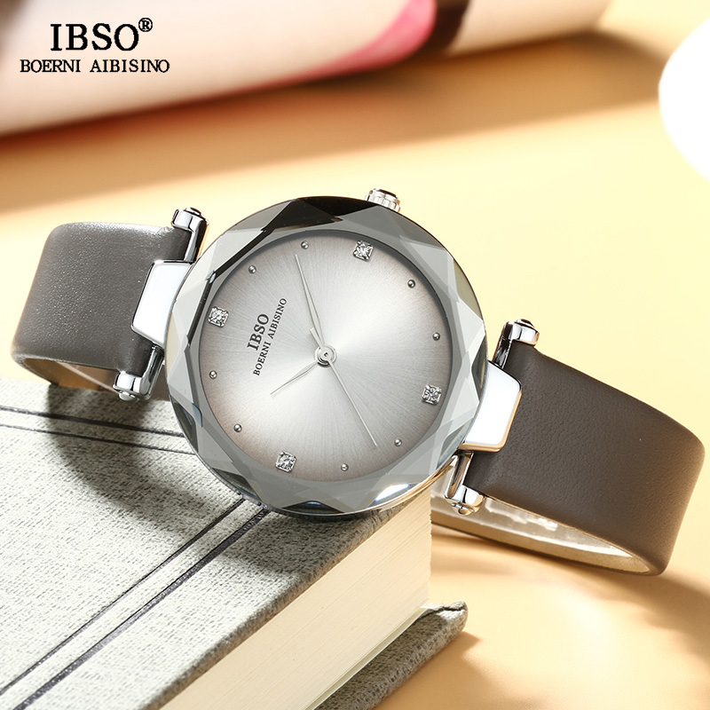 IBSO Brand Luxury Women Wrist Watches Leather Strap Montre Femme 2018 Fashion Ladies Quartz Watch Women Relogio Feminino Clock women watches top brand luxury fashion slim red leather strap roman numerals dial quartz wrist watch ladies clock montre femme
