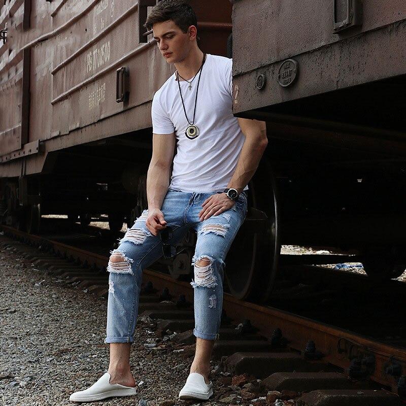 2019 nouveau mode hommes jeans vieux couteau coupe fracassé trou porté hommes jeans hommes européens et américains pantalons de rue taille 28-40