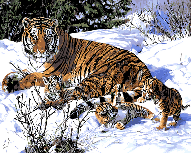 Frameless Harimau Hewan Diy Lukisan Dengan Nomor Kit Mewarnai