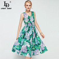 High Quality New 2017 Fashion Runway Dress Women S Sleeveless V Neck Backless Casual Party Floral