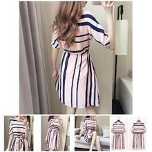 2019 Fashion Hot Women Summer Dress Striped Elastic Cord Slim Fit Short Sleeve Female Outfits MSK66