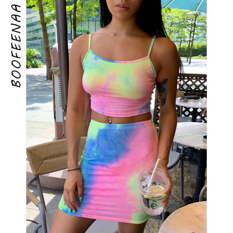 BOOFEENAA Tie Dye Two Piece Skirt Set Summer Clothes For Women Cute Matching Sets Sexy Club Outfits Bodycon 2pc Set C70-H23