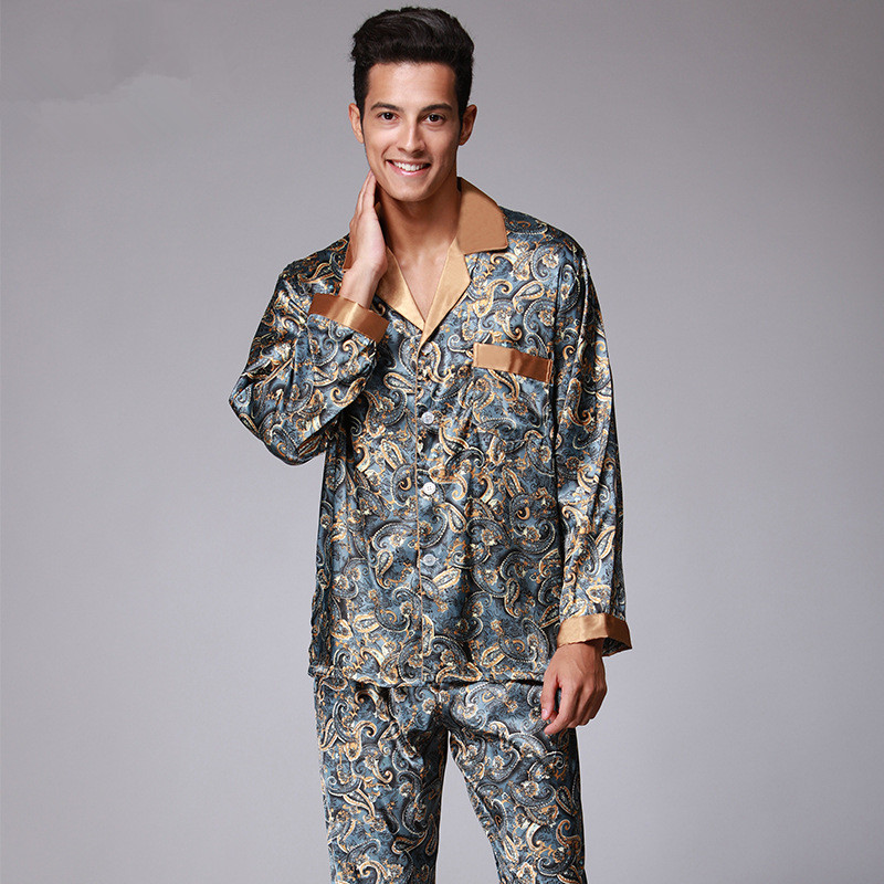 Luxury Pajamas Men Paisley Pattern Sleepwear Silk Long