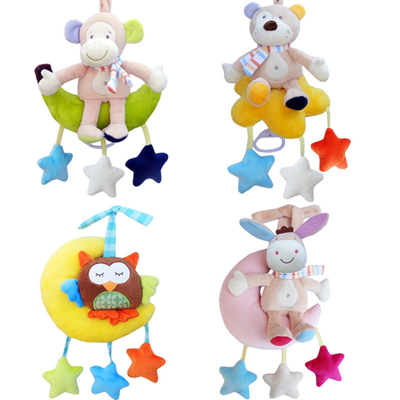 Cute Newborn Baby Crib Soft Rattle Hanging Bed Bell Baby Toys Stuffed Animal Musical Mobile Stroller Educational Toys for Kids