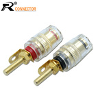 2pcs 4mm Banana Socket Gold Plated Binding Post Nut Banana Plug Jack Connector Clear