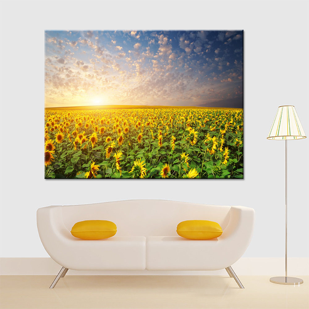 Embelish 1 Pieces Sunrise Sunflower Field Flowers Landscape Wall Posters For Living Room HD Canvas Painting Home Decor Pictures
