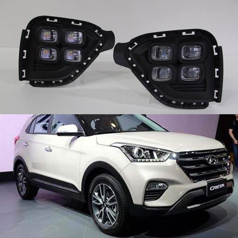 1Pair DRL For Hyundai Creta IX25 2017 2018 LED Daytime Running Light South American version fog