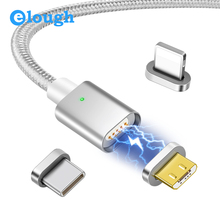 Elough E04 Magnetic Charging USB Cable For iPhone XR Micro USB Cable Type C Cable Magnetic Charge Cable Fast Charging Data wire