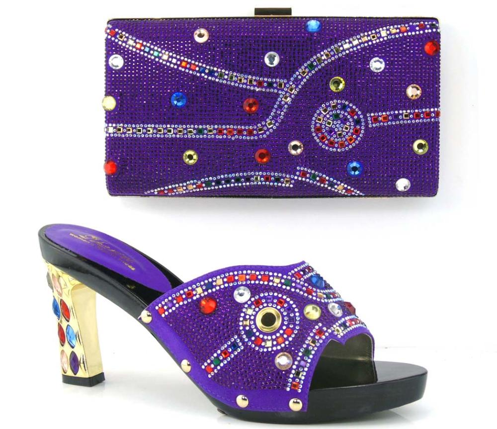 ФОТО Purple Color Shoes and Bag To Match Italian African Wedding Shoe and Bag Sets for Women Italian Elegant Women Shoes and Bags Set
