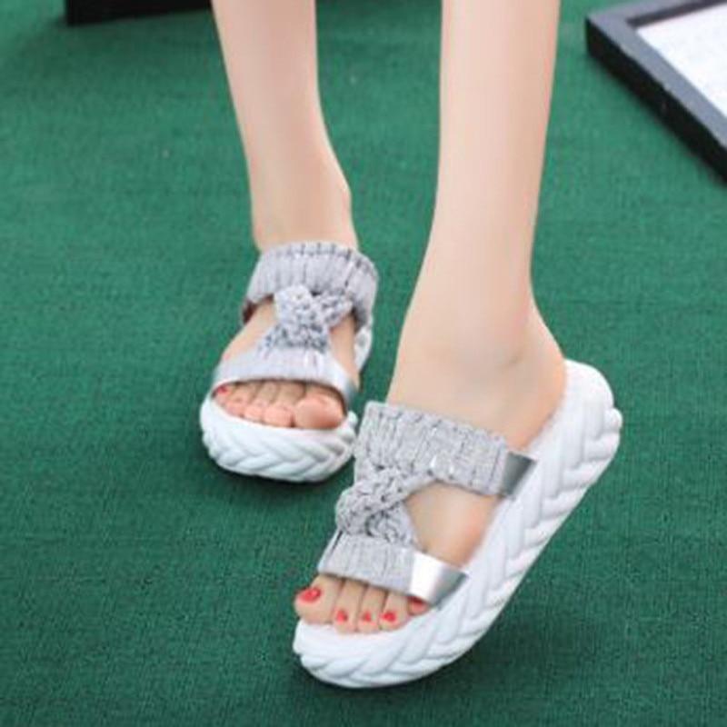 2018 Frauen Hausschuhe Woven Strap Mode Strand Schuhe Hausschuhe Damen Frauen Sommer Sandalen Plattform Flache Schuhe Alias Gute Begleiter FüR Kinder Sowie Erwachsene