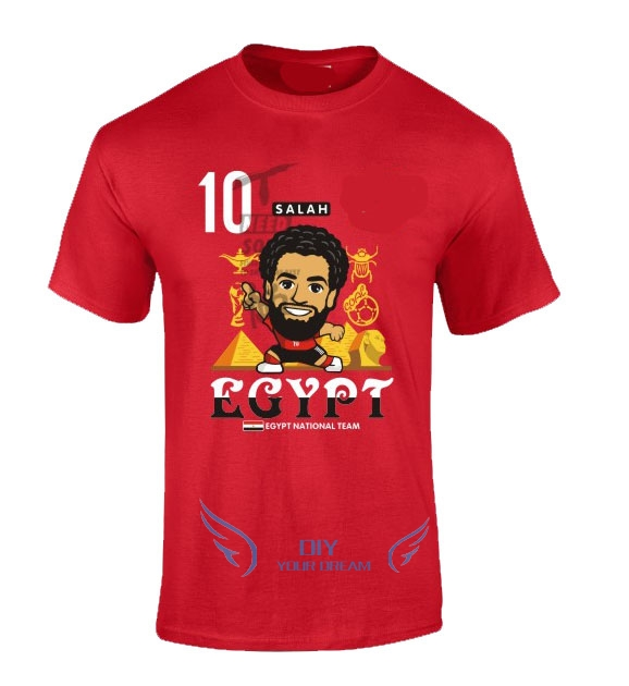 New Mohamed Salah red cartoon q version funny T Shirt 100% cotton t-shirts Man o-neck tee for Egypt fans gift