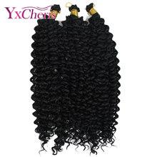 Cabelo encaracolado boêmio para crochê yxcheris 14 polegada ombre sintético trança extensões de cabelo crochê tranças