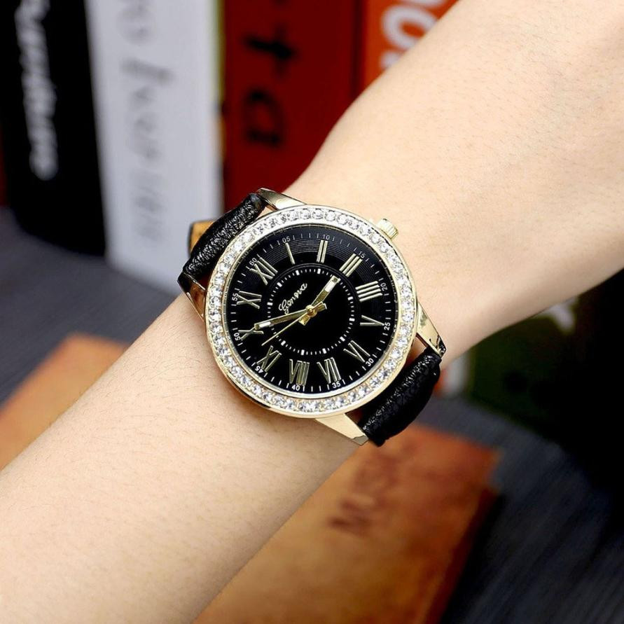 Geneva Women's Leather Band Roman Rhinestone Quartz Wrist Watch Watches Relogio Feminino Women Watches Reloj Mujer Bayan Kol newly design dog pug watch women girl pu leather quartz wrist watches ladies watch reloj mujer bayan kol saati relogio feminino