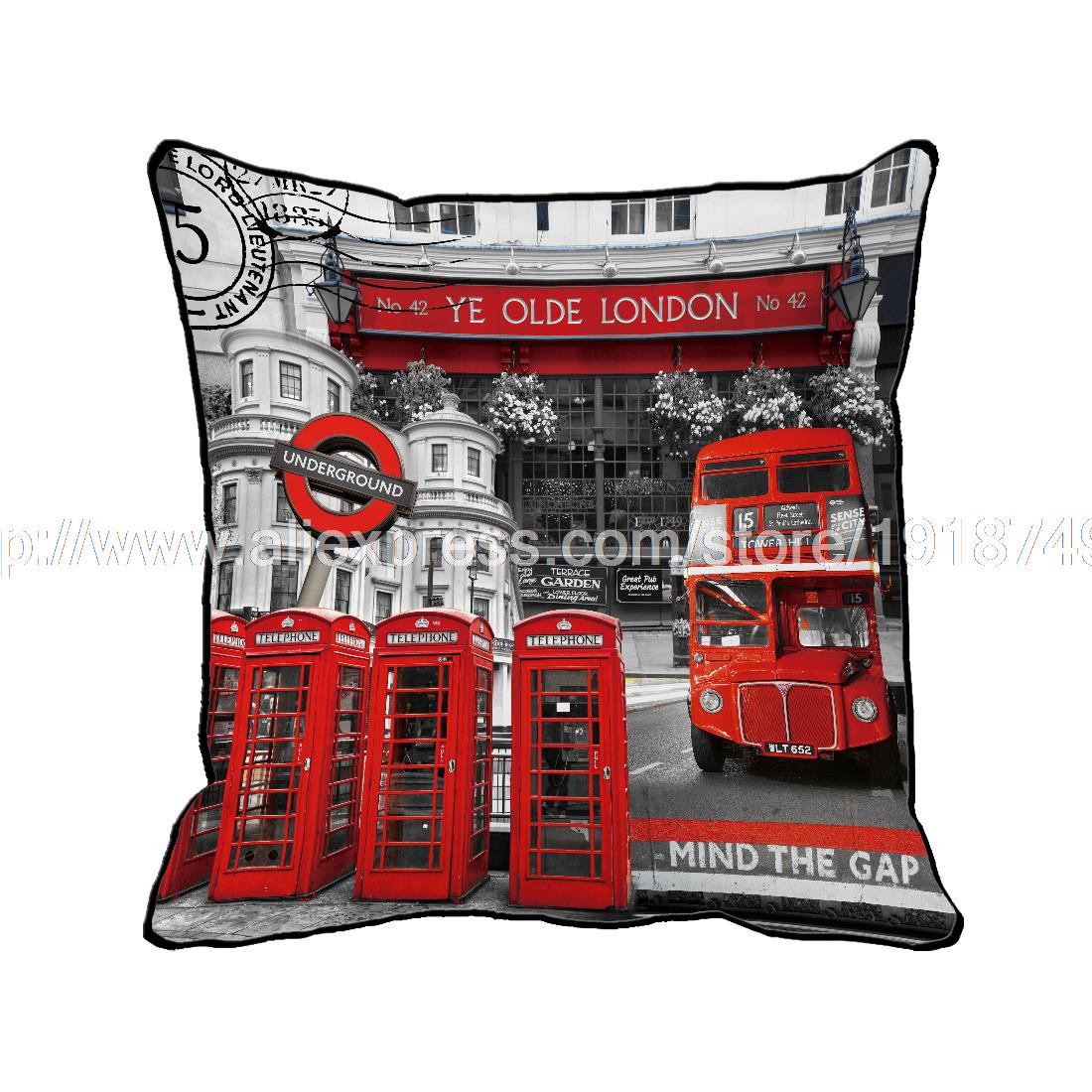 red bus with telephone booth printed customized grey cushion cover home decorative euro retro vintage throw pillow case
