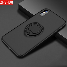 Case For iPhone X 8 7 Plus holder Ring Finger Stand Phone Cases Hard Full Back Cover Apple 10 Coque ZHSHUM