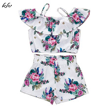 2 Pcs/set Children Sling Tops Short Pants Suit Kids Girls Peony Floral Shorts Suits Seaside Style Vacation Holiday Birthday Gift