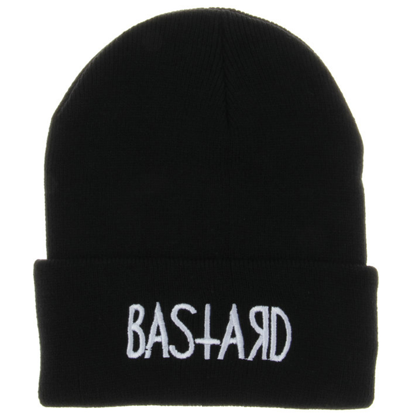 Hot Black Acrylic Embroider Letter BASTARD Beanies Hats For Women Men Unisex Adult Casual Skullies Winter Caps Knitted Gorros кеды napapijri baker р 43 голубой