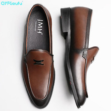 QYFCIOUFU Summer New Fashion British Style Formal Shoes Men Dress Loafers Genuine Leather Slip-on Handmade Office