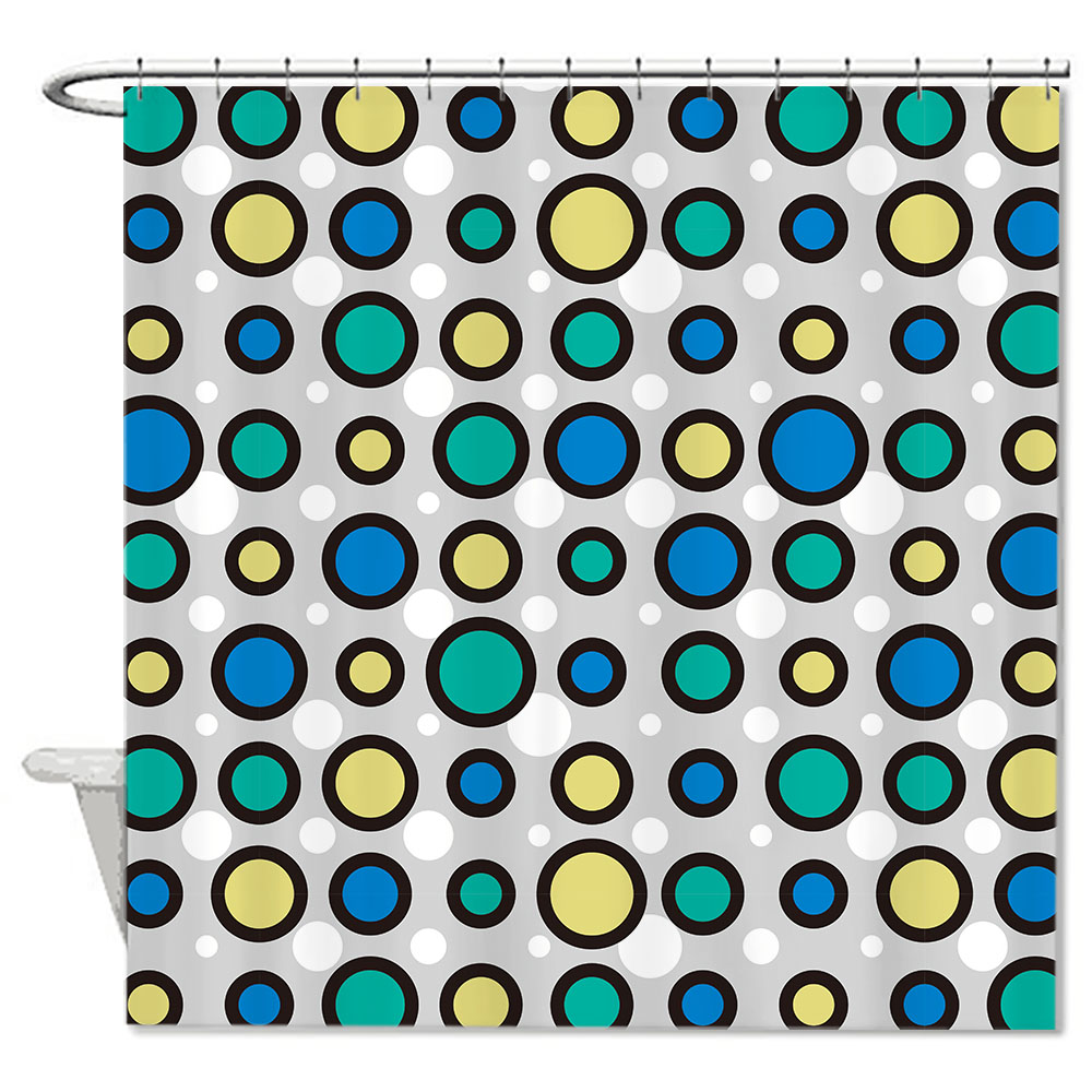 Yellow and blue shower curtain - Cool Polyester Fabric Blue Green Yellow White Dots Custom Bath Curtains 72 72