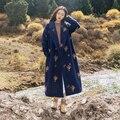 Nuevo diseño del bordado de lana abrigo de invierno chaqueta de ropa islámica de gran tamaño cardigan largo ocasional turco abaya dubai robe 8931