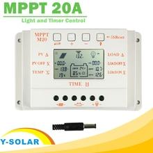 MPPT 20A LCD Solaraufladeeinheitssteuerpult 12 V 24 V mit Temperatursensor Licht und Zeitsteuerung für Hauptbeleuchtung System Y-SOLAR